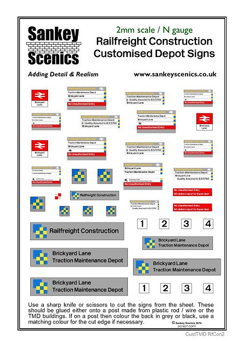 2mm Customised TMD Signage BR Railfreight Construction Sector
