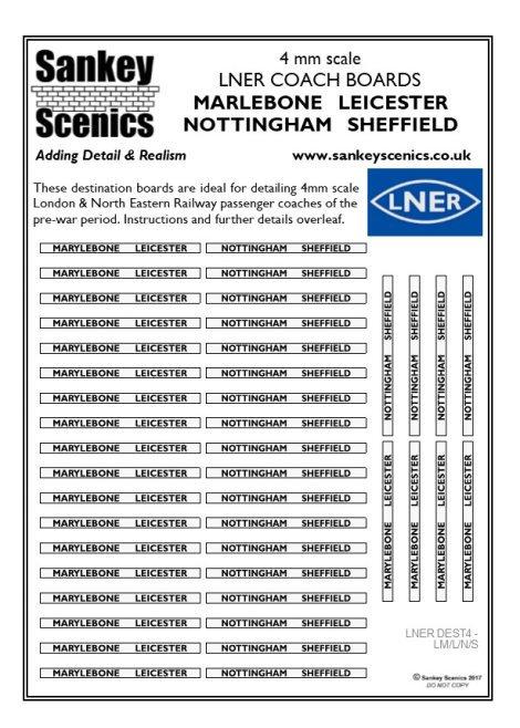 4mm LNER Destination Boards: Marylebone  Leicester  Nottingham  Sheffield