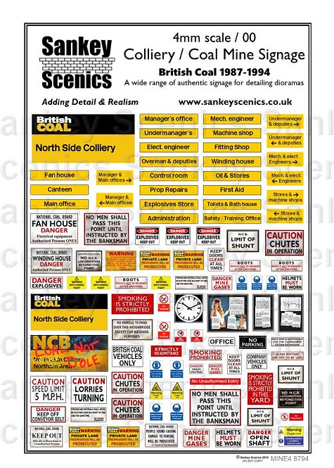 4mm Customised Colliery Signs  1987 - 1994