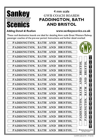 4 mm Scale GWR Boards Paddington, Bath a