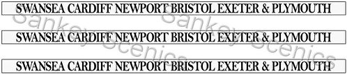 4mm GWR Destination Boards: Swansea,Cardiff,Newport,Bristol,Exeter & Plymouth