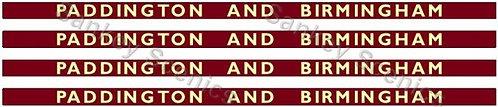 4mm BR Hawksworth Destination Boards: Paddington & Birmingham