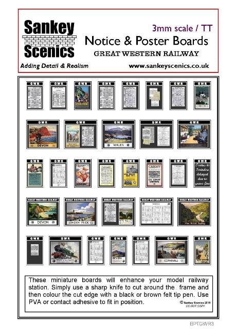 3mm TT GWR Notice and Poster Boards