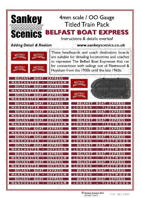 4mm Titled Train Pack:Belfast Boat Express