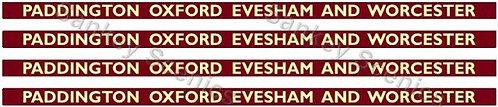 4mm BR Hawksworth Destination Boards: Paddington, Oxford, Evesham & Worcester