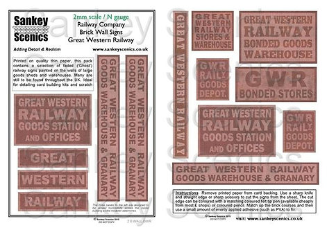 2mm Railway Warehouse and Brick Wall Signage: GWR