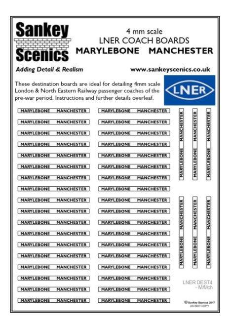 4mm LNER Destination Boards: Marylebone  Manchester