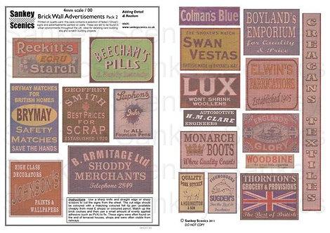 4mm Brick Wall Advertisements Pack 2