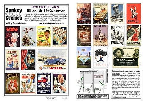3mm TT Billboards 1940s Post War