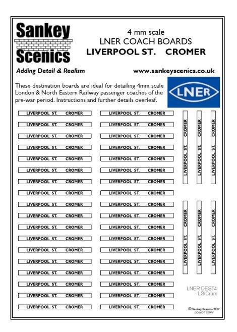 4mm LNER Destination Boards: Liverpool St.  Cromer