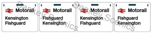 4mm Motorail Destination Panels: Kensington, Fishguard