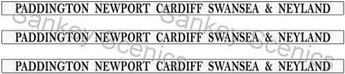 4mm GWR Destination Boards: Paddington, Newport, Cardiff, Swansea & Neyland