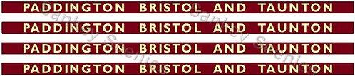 4mm BR Hawksworth Destination Boards: Paddington, Bristol & Taunton
