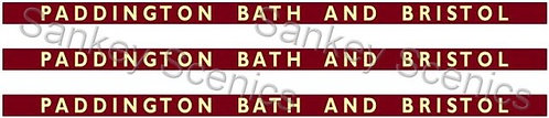 4mm BR WR Destination Boards: Paddington, Bath and Bristol