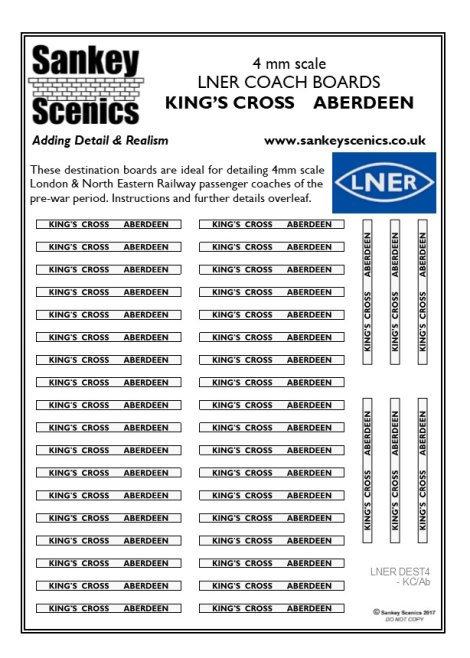 4mm LNER Destination Boards: King's Cross  Aberdeen