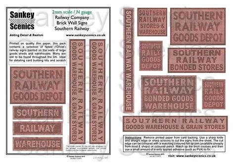 2mm Railway Warehouse and Brick Wall Signage: SR