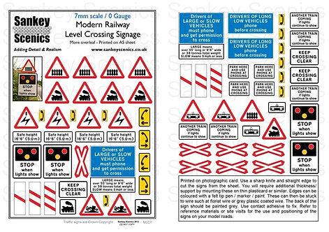 7mm Modern Level Crossing Signs