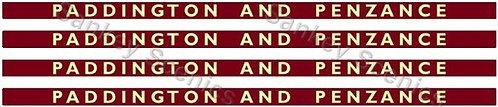 4mm BR Hawksworth Destination Boards: Paddington & Penzance