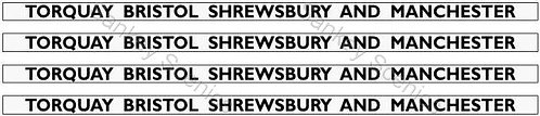 4mm GWR Hawksworth Destination Boards: Torquay, Bristol, Shrewsbury & Manchester