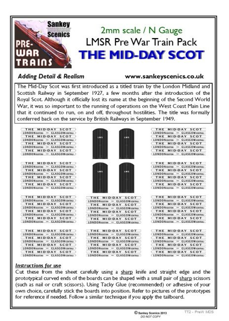 2mm Pre-war Titled Train: The Mid-Day Scot