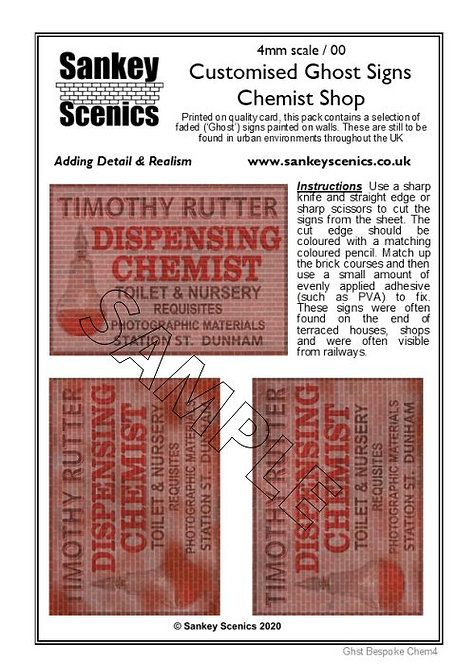 4mm Customised Ghost Signs - Dispensing Chemist