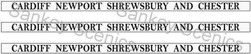 4mm GWR Destination Boards: Cardiff, Newport, Shrewbury & Chester