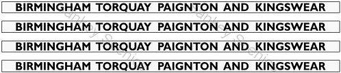 4mm GWR Hawksworth Destination Boards: Birmingham, Torquay, Paignton & Kingswear