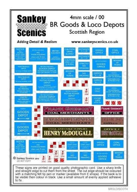 4mm Loco & Goods yard signage Scottish Region