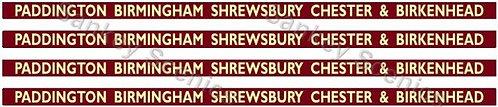 4mm BR Hawksworth Dest Bds: Paddington, Birm'ham, Shrewsbury, Chester & Birkhead