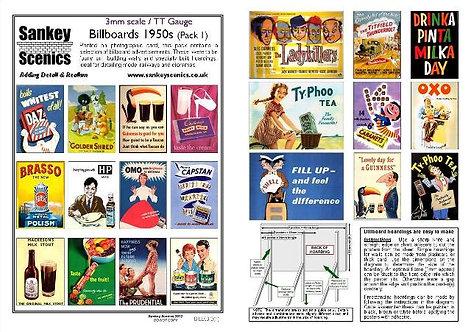 3mm TT Billboards 1950s Pack 1