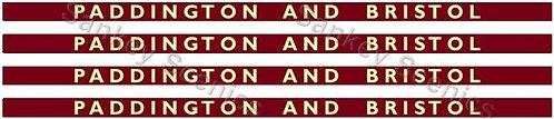 4mm BR Hawksworth Destination Boards: Paddington & Bristol