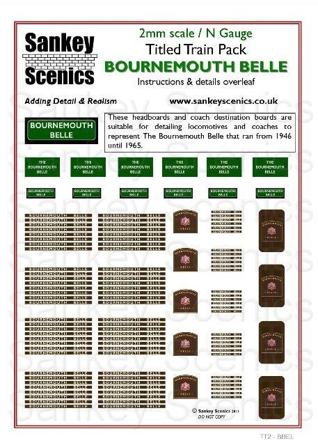 2mm Titled Train Pack: Bournemouth Belle