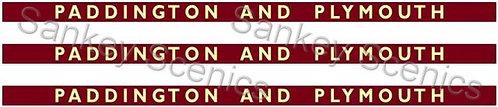 4mm BR WR Destination Boards: Paddington & Plymouth