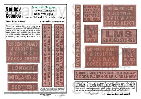 2mm Railway Warehouse and Brick Wall Signage: LMS