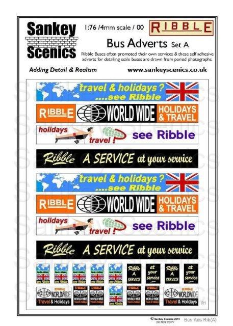 4mm / 1:76 Bus Advertisements Ribble Set A