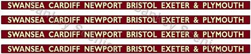 4mm BR Hawksworth Dest Boards: Swansea,Cardiff,Newport,Bristol,Exeter & Plymouth