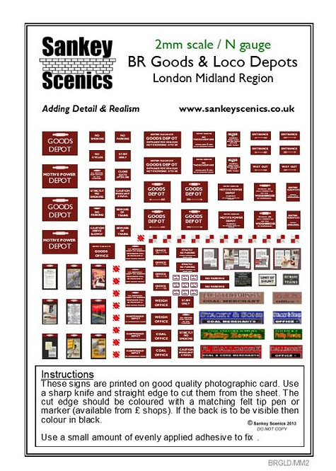 2mm BR Goods and Loco Depot Signs London Midland Region