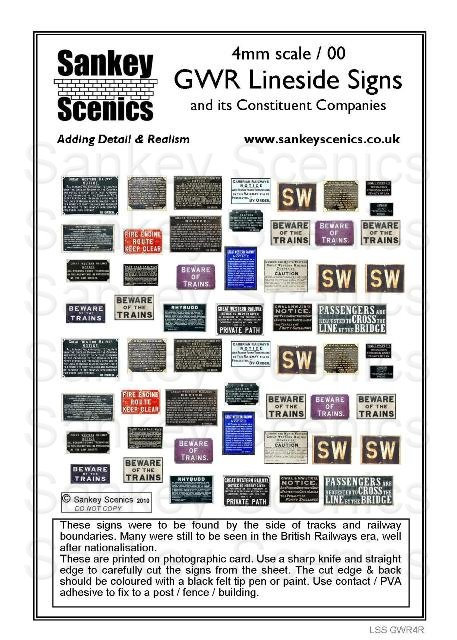 4mm GWR Lineside Signs