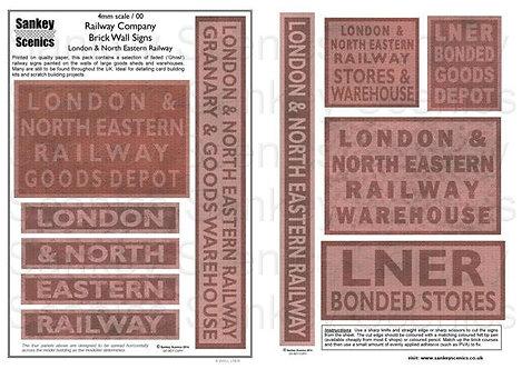 4mm Railway Warehouse and Brick Wall Signage: LNER