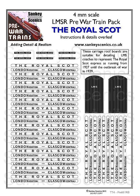 4mm Pre-war Titled Train: The Royal Scot