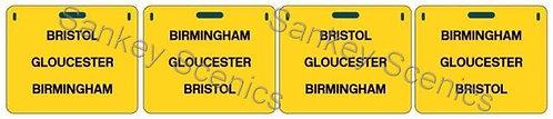 4mm WR Destination Panels: Bristol, Gloucester, Birmingham