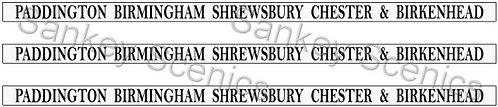 4mm GWR Destination Boards: Paddington, B'ham, Shrewsbury, Chester & Birkenhead