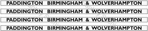 4mm GWR Hawksworth Destination Boards: Paddington, Birmingham & Wolverhampton