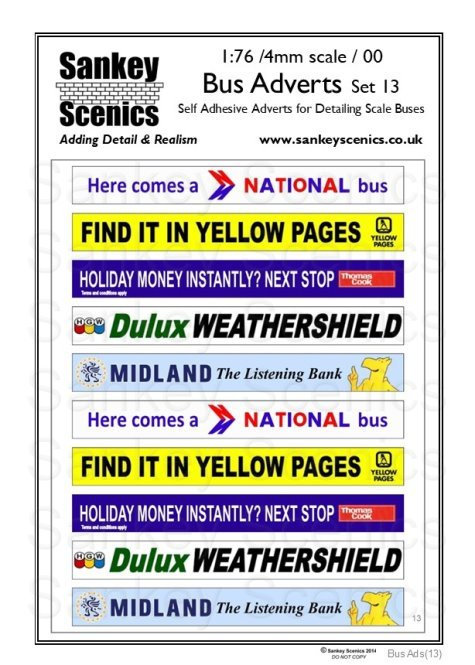 4mm / 1:76 Bus Advertisements Set 13