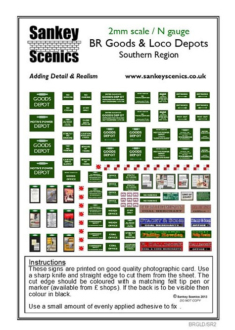 2mm BR Goods and Loco Depot Signs Southern Region