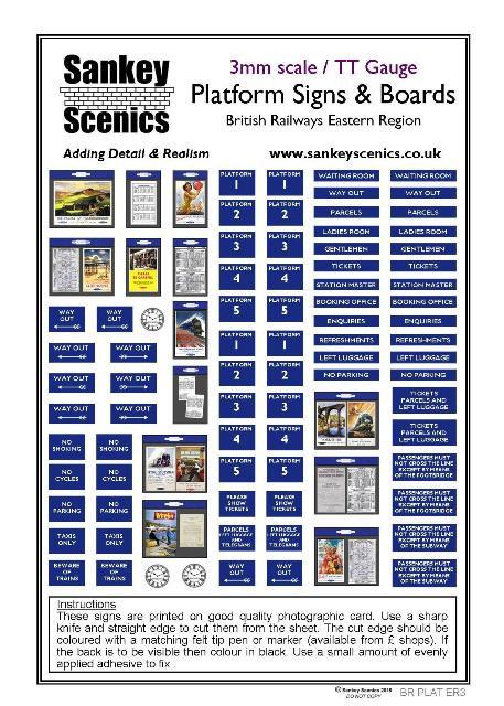 3mm TT BR Platform Signs and Boards Eastern Region