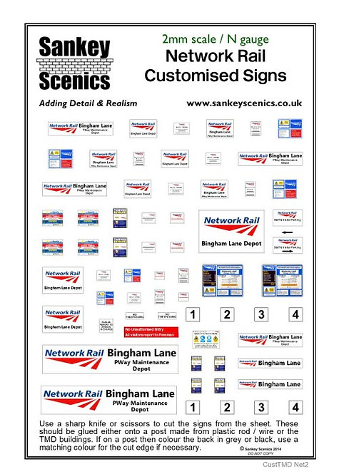 2mm Customised TMD Signage DB Network Rail Depot