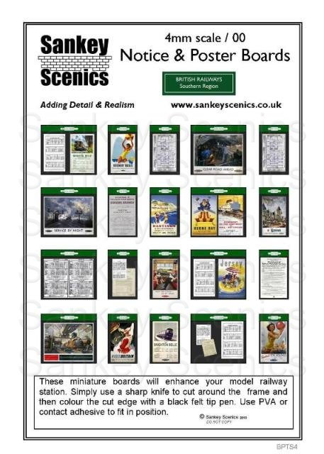 4mm BR Poster & Timetable Boards Southern Region