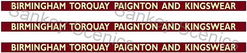 4mm BR WR Destination Boards: Birmingham, Torquay, Paignton & Kingswear
