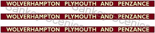 4mm BR WR Destination Boards: Wolverhampton, Plymouth & Penzance
